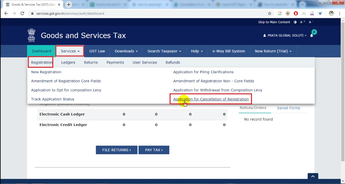 4 Go to services, then go to Regsitration and click Application for cancel GST Registration.jpg