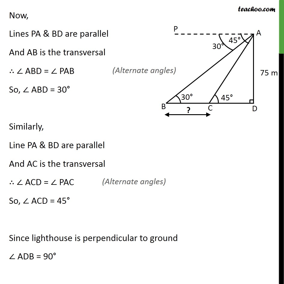 Ex 9.1, 13 - Chapter 9 Class 10 Some Applications of Trigonometry - Part 2