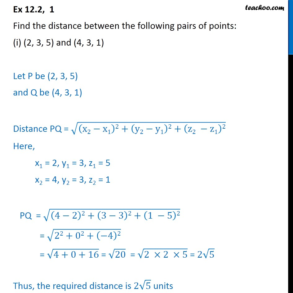 Ex 12.2, 1 - Find distance between the pairs of points: - Ex 12.2