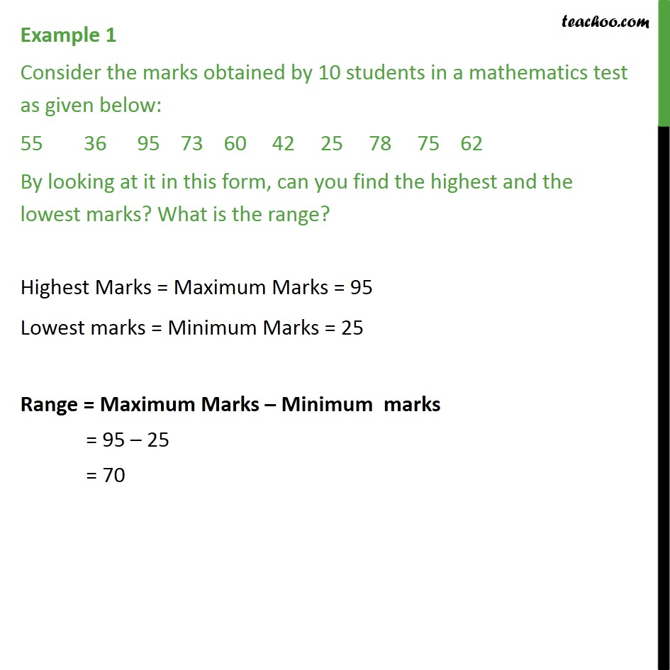 Example 1 - Consider marks obtained by 10 students - Raw Data