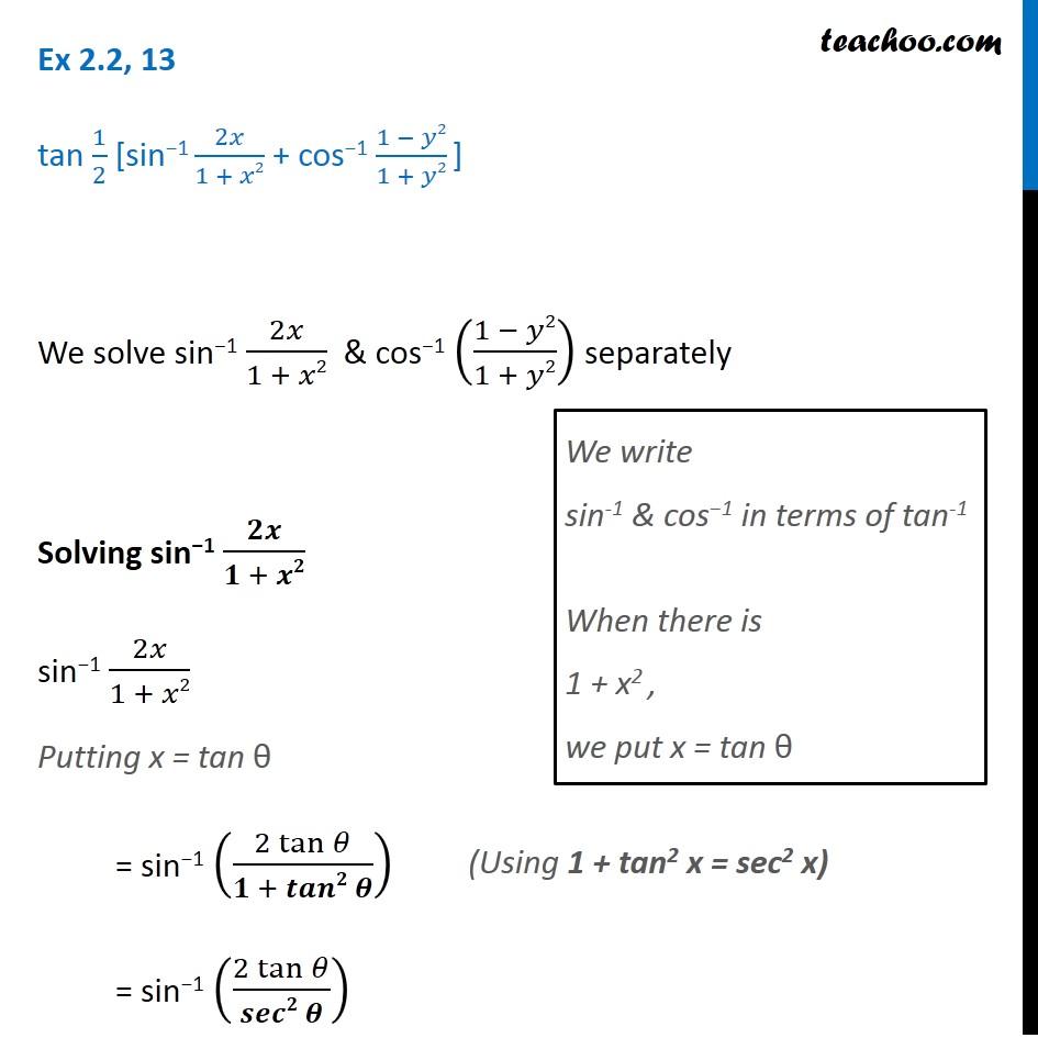 Ex 2 2 13 Inverse Trigonometry Tan 1 2 Sin 1 2x 1 X2
