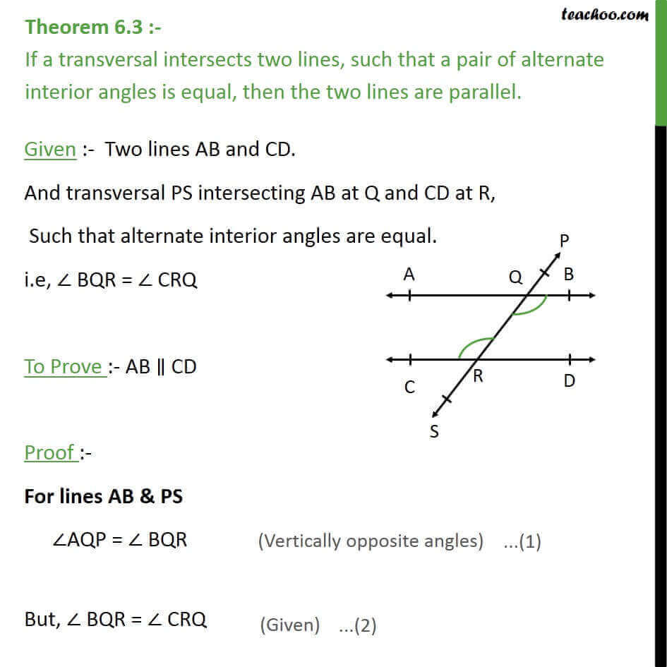 Theorem 6.3 - Class 9 - If alternate angles are equal, lines parallel..jpg