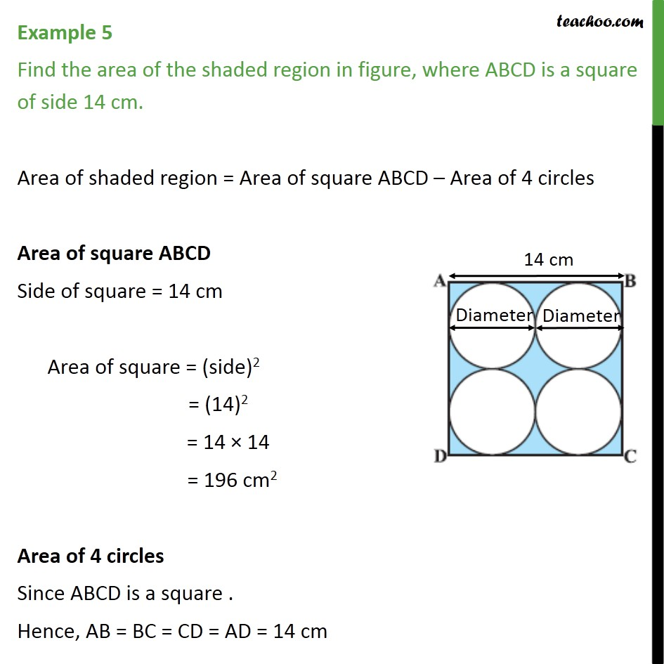 Example 5 - Find area of shaded region, ABCD is a square 14cm - Examples