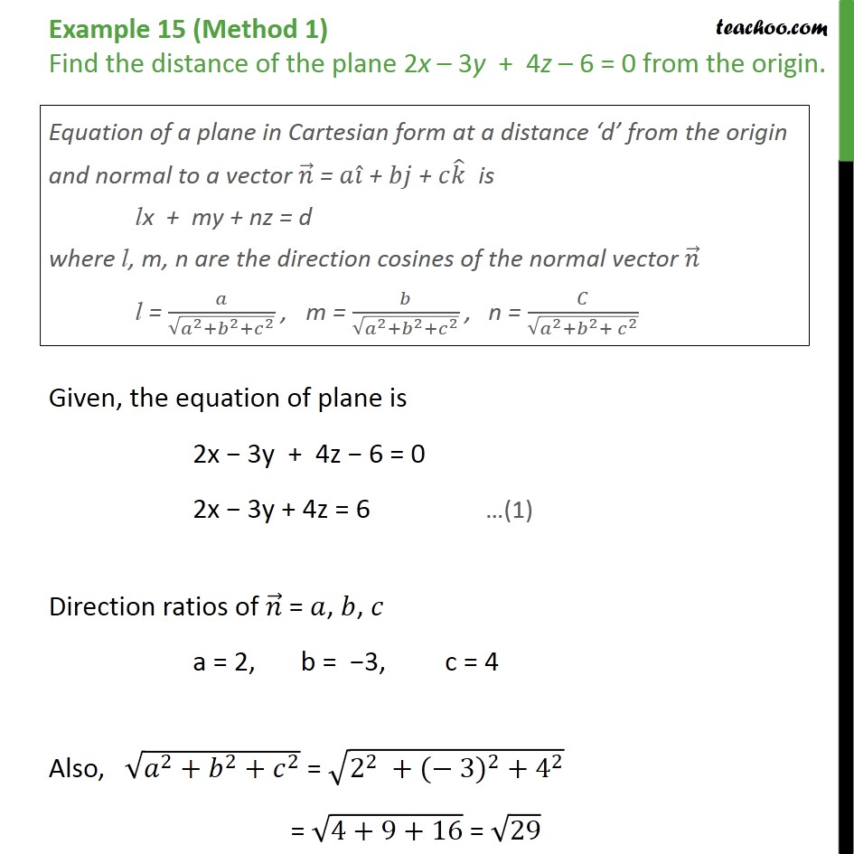 Example 15  - Find distance of plane from origin - Class 12 - Examples