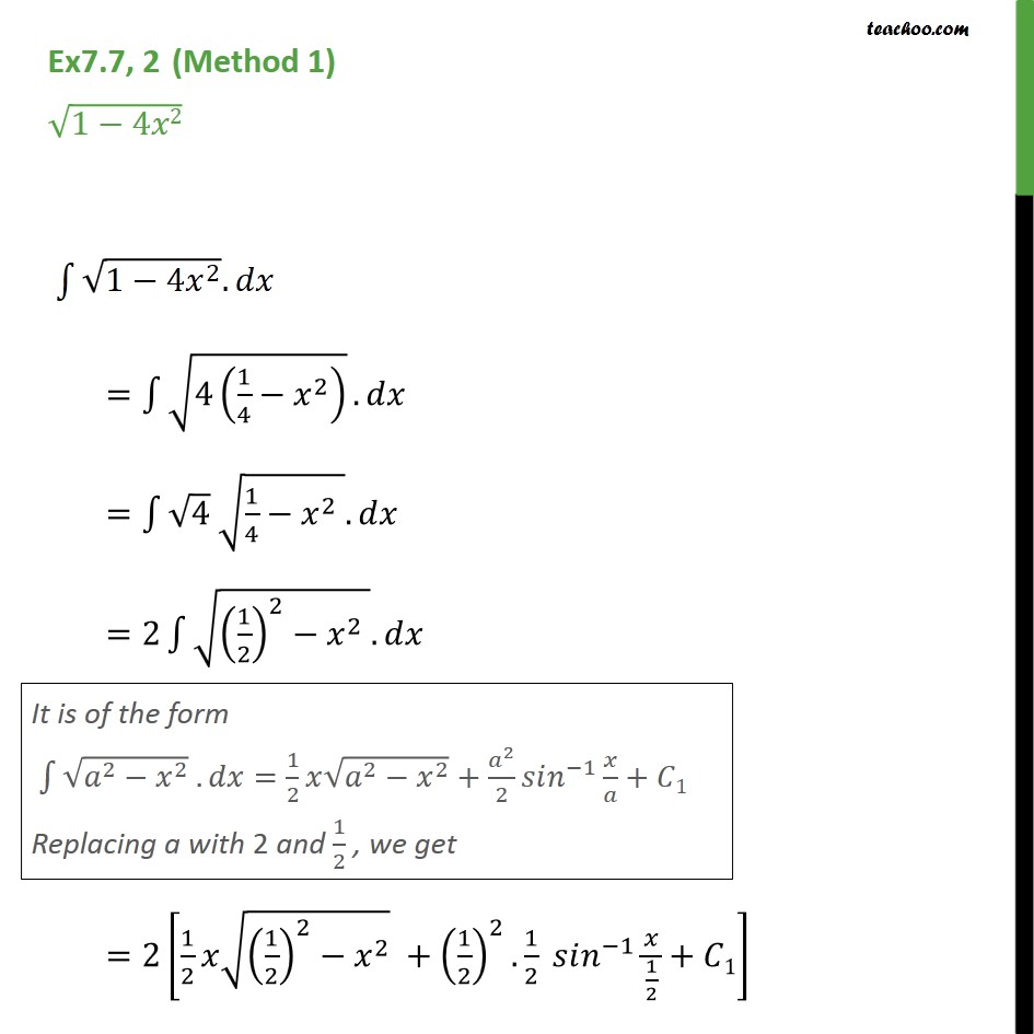 Ex 7.7, 2 - Integrate root 1 - 4x2 - Chapter 7 Integrals - Integration by specific formulaes - Formula 8