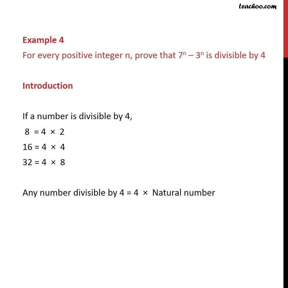 Example 4 - Prove that 7n - 3n is divisible by 4 - Chapter 4 - Examples