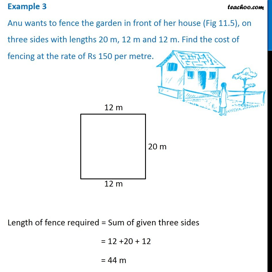 Example 3 - Anu wants to fence the garden in front of her house