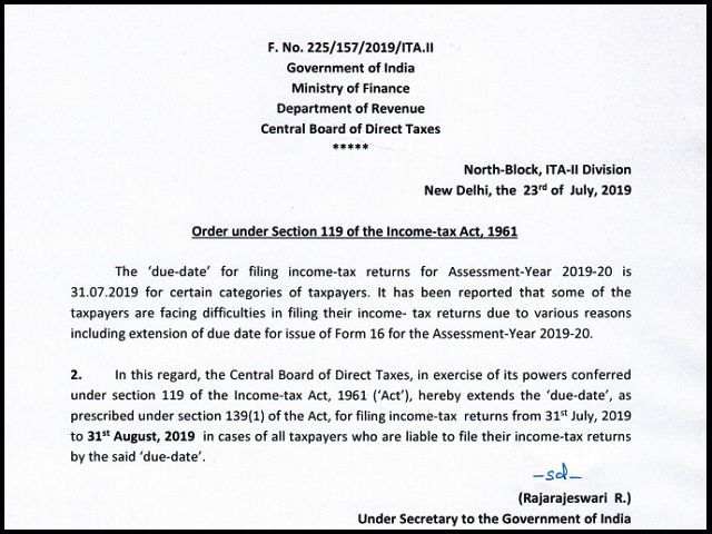 Itr Due Dates Extended For Both Salaried And Audit Case Changes In I