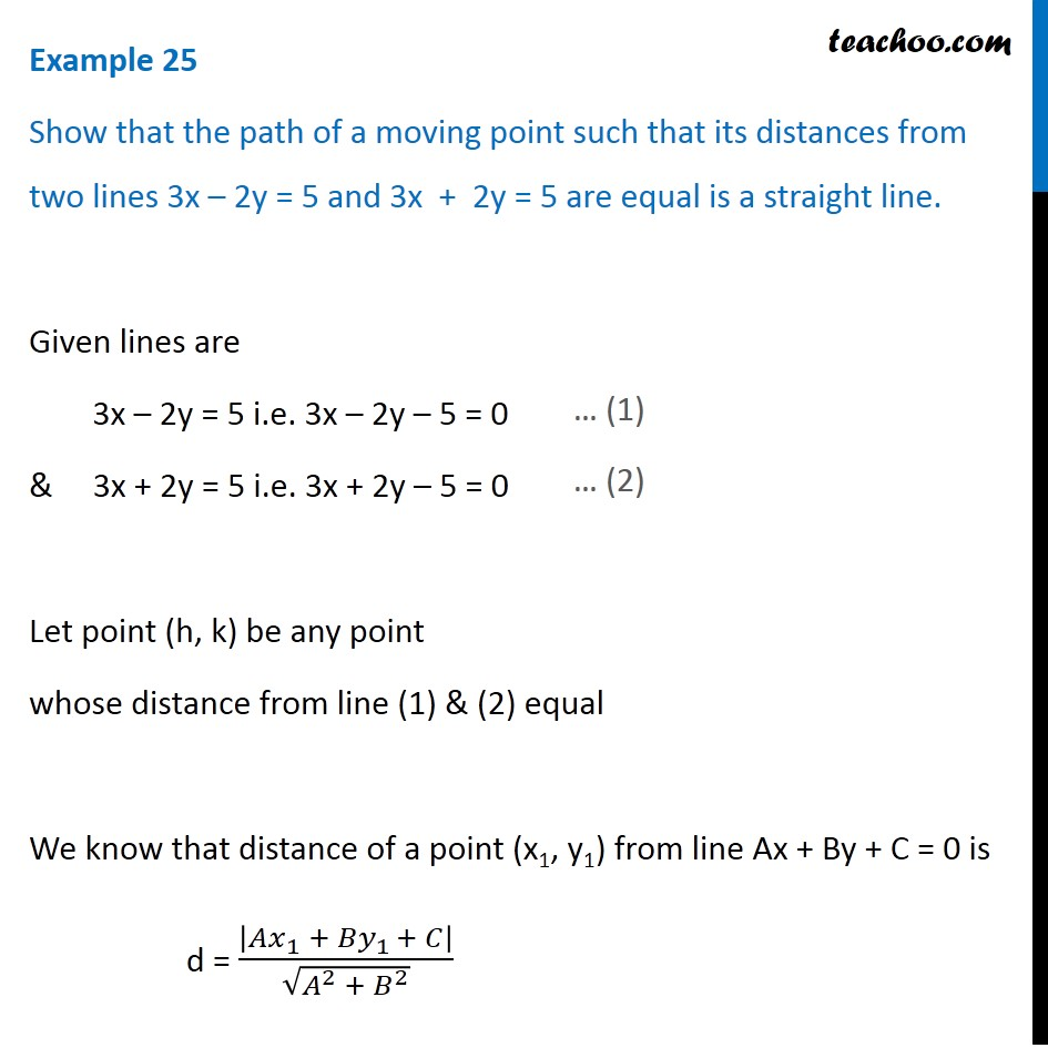 Example 25 - Show that path of a moving point such that distance