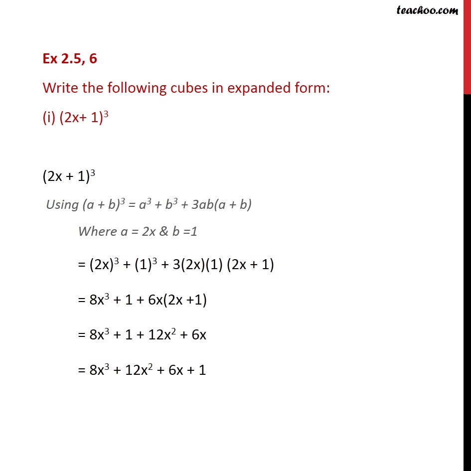 Ex 2.5, 6 - Write the following cubes in expanded form: - Ex 2.5