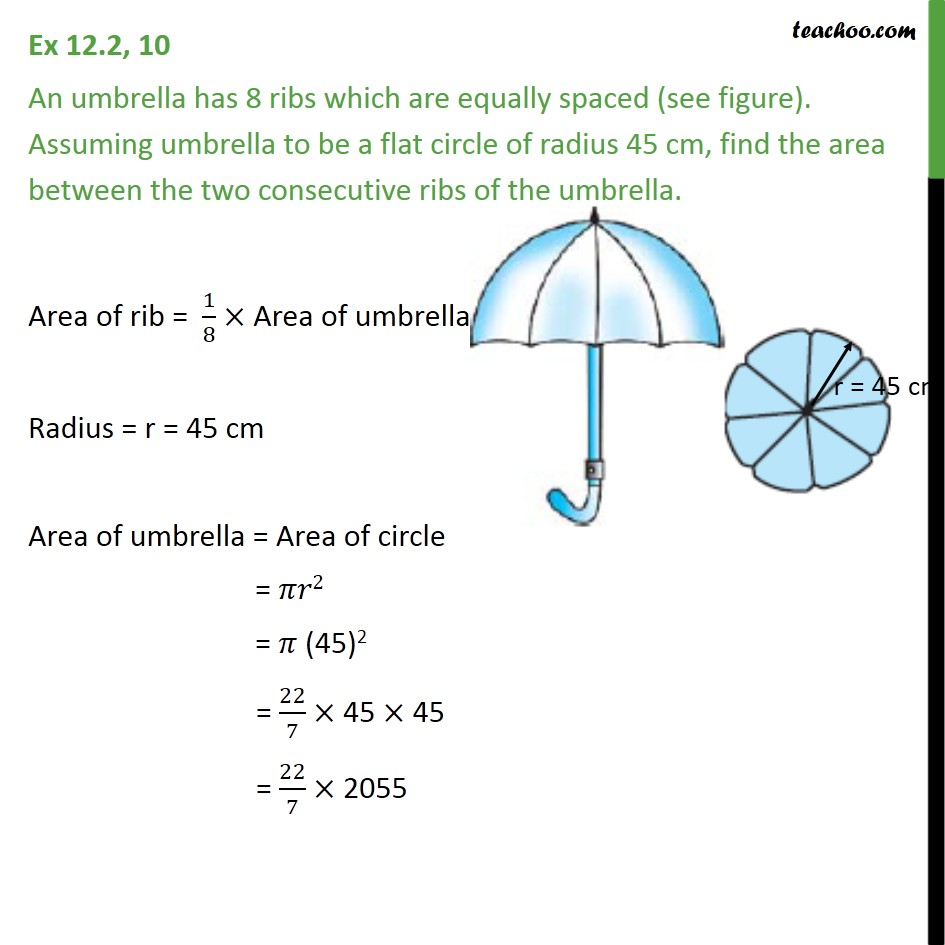 Ex 12.2, 10 - An umbrella has 8 ribs which are equally spaced - Ex 12.2