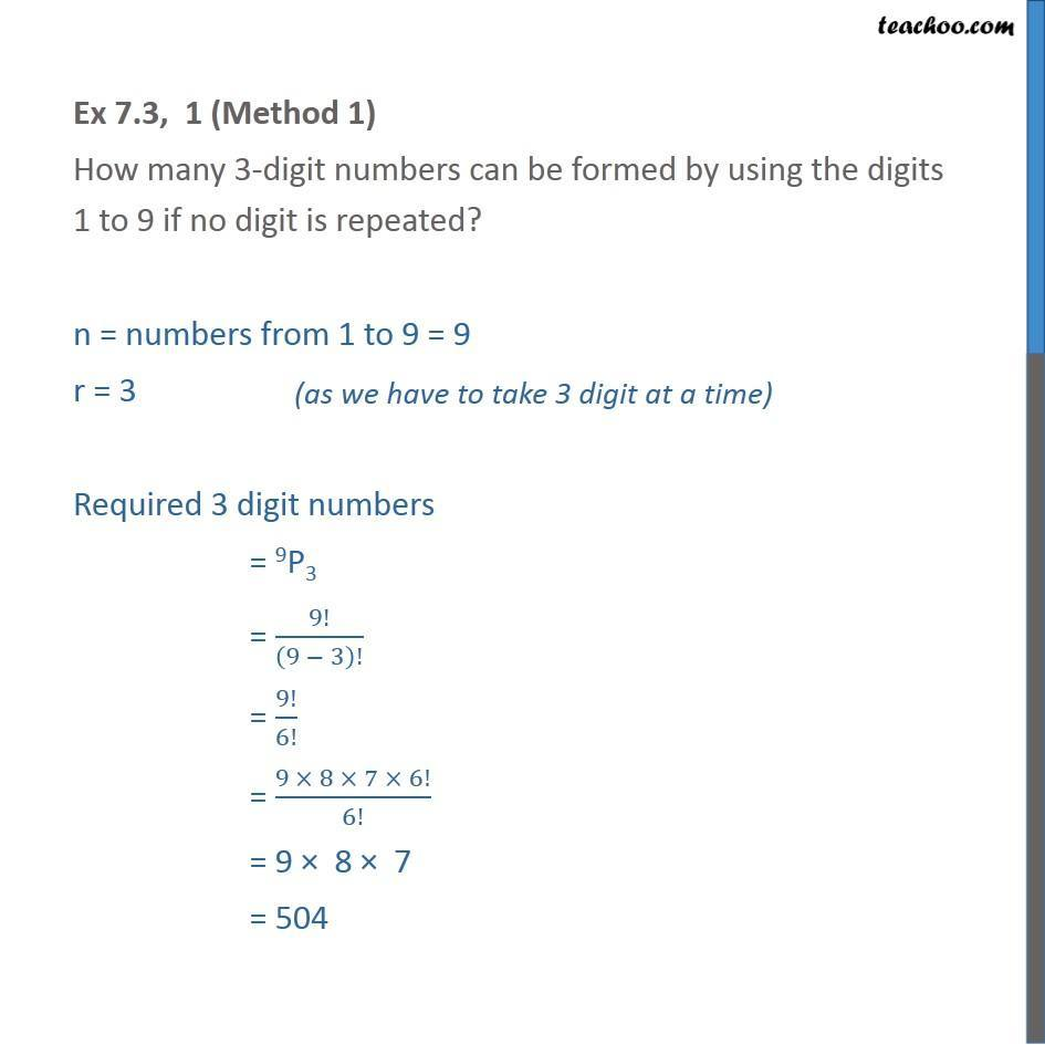 Ex 7.3, 1 - How many 3-digit numbers can be formed - Chapter 7 - Permutation- non repeating