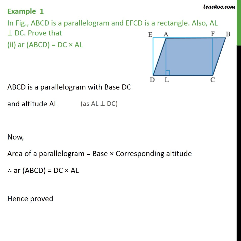Example 1 - Chapter 9 Class 9 Areas of Parallelograms and Triangles - Part 2