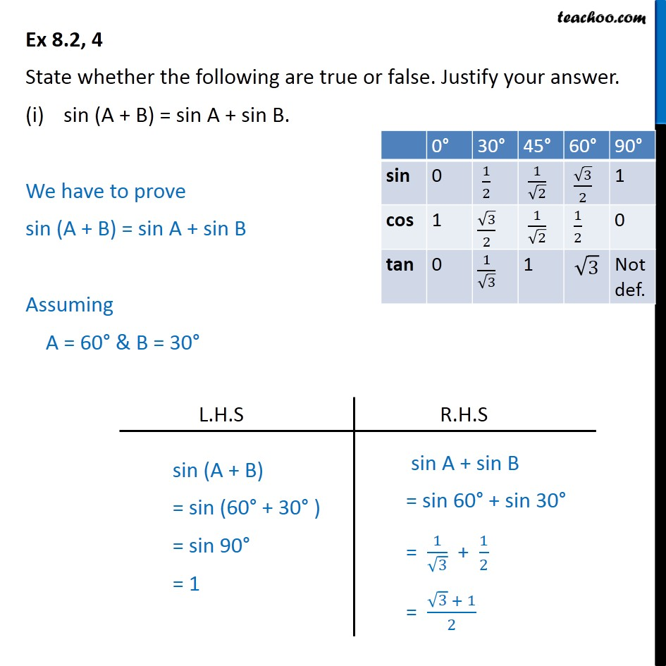 Ex 8.2, 4 - True or false (i) sin (A + B) = sin A + sin B - Ex 8.2