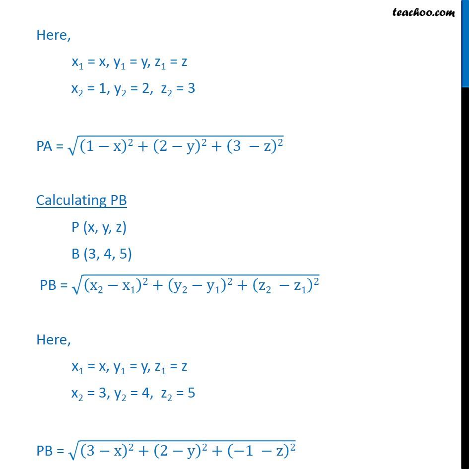 Ex 12.2, 4 - Find equation of set of points equidistant - Ex 12.2