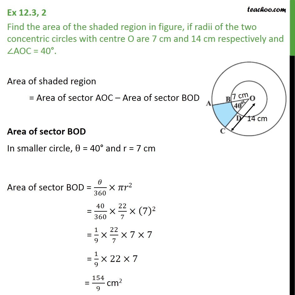 Ex 12.3, 2 - Find area, if radii of two concentric circles - Ex 12.3