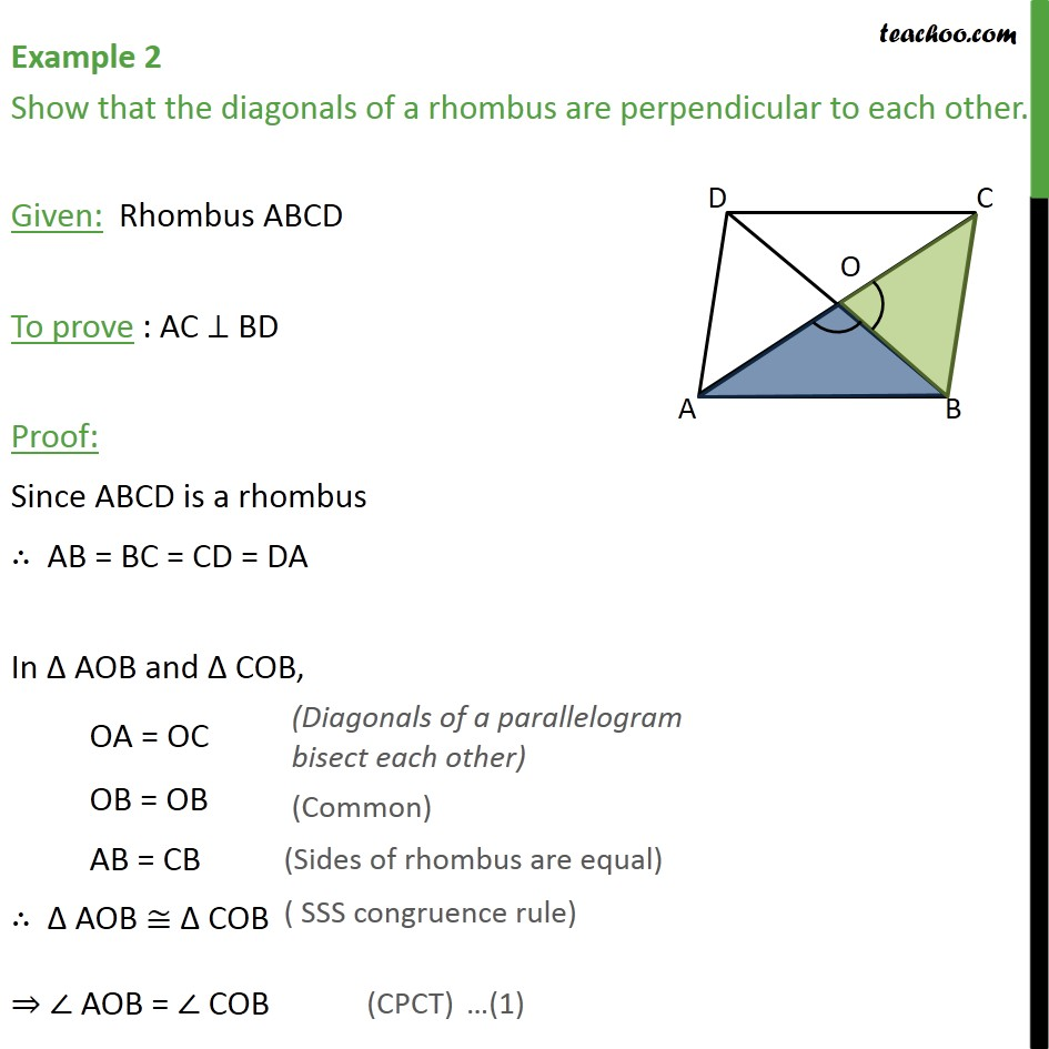 Example 2 - Show that diagonals of rhombus are perpendicular - Examples