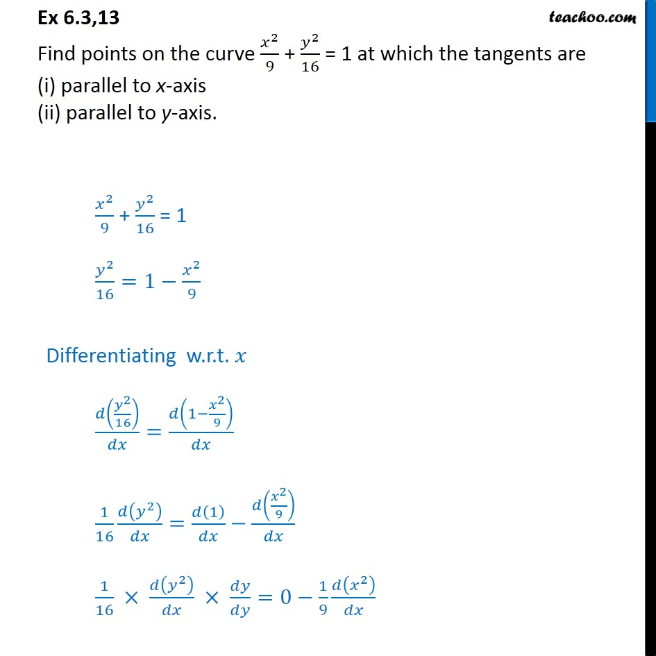 Ex 6.3, 13 - Find points on x2/9 + y2/16 = 1 at which tangents - Ex 6.3