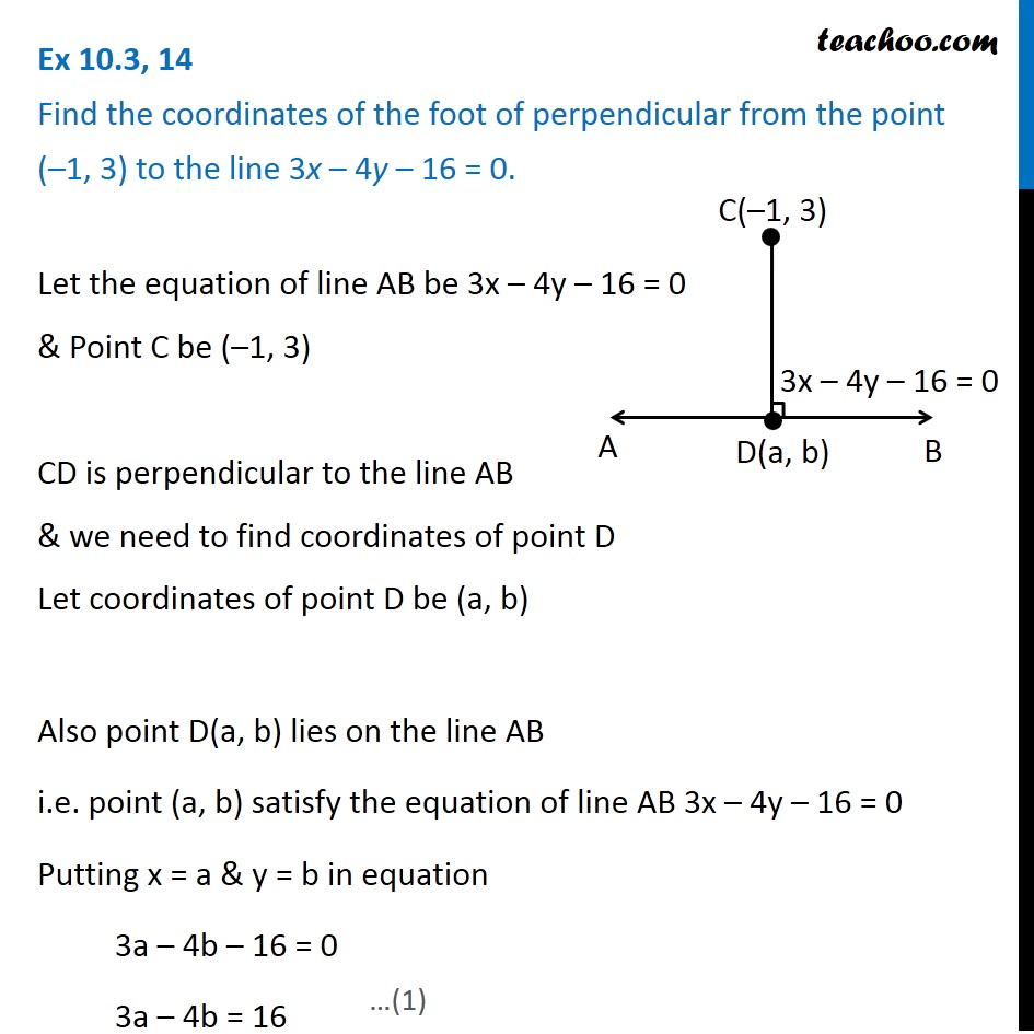 Ex 10.3, 14 - Find coordinates of foot of perpendicular from point (-1