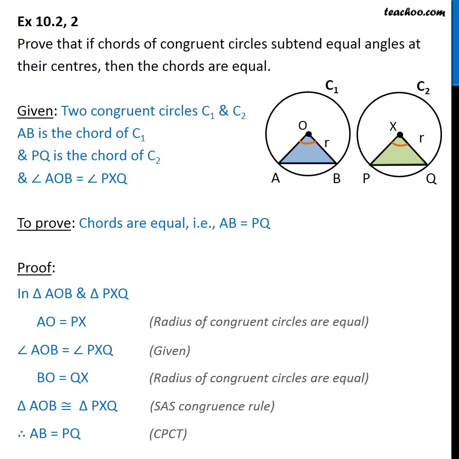 Ex 10.2, 2 - Prove that if chords of congruent circles - Ex 10.2