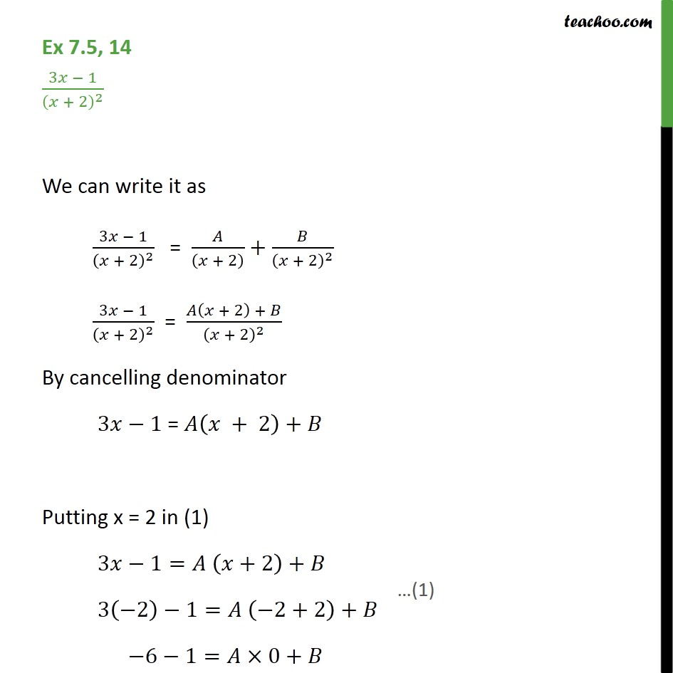 Ex 7.5, 14 - Integrate 3x - 1 / (x + 2)2 - Chapter 7 Class 12 - Integration by partial fraction - Type 2