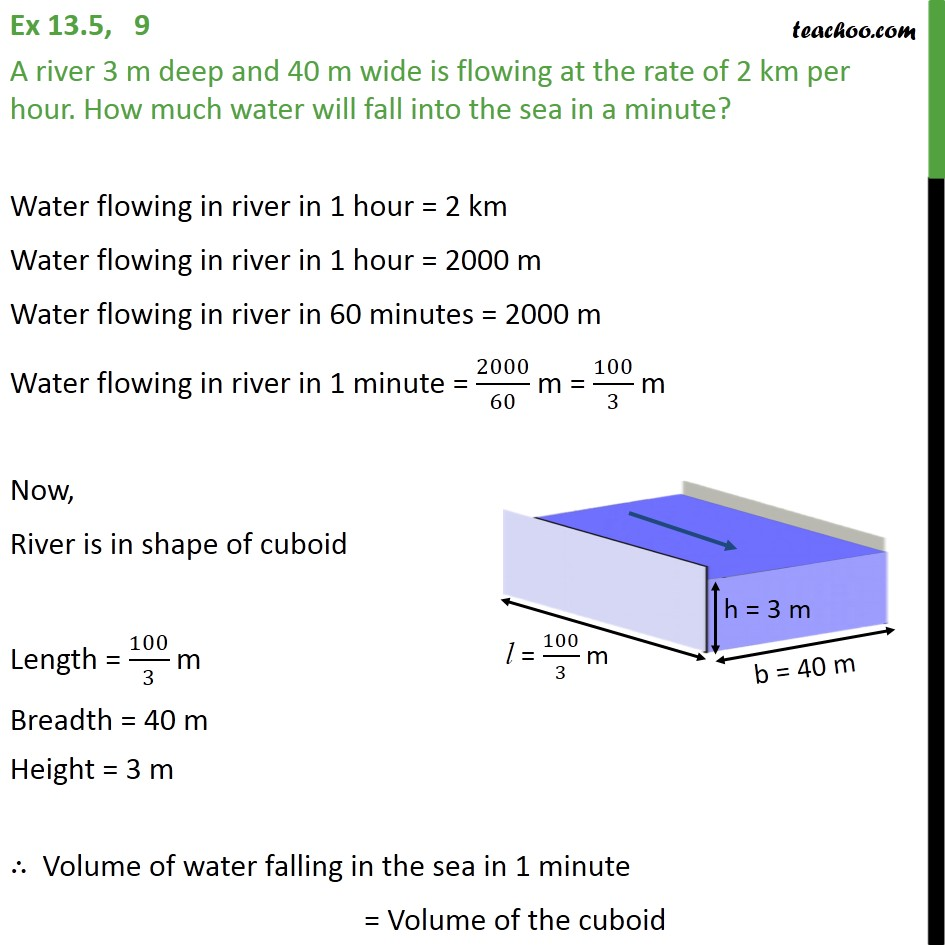 Ex 13.5, 9 - A river 3 m deep and 40 m wide is flowing - Volume Of Cube/Cuboid