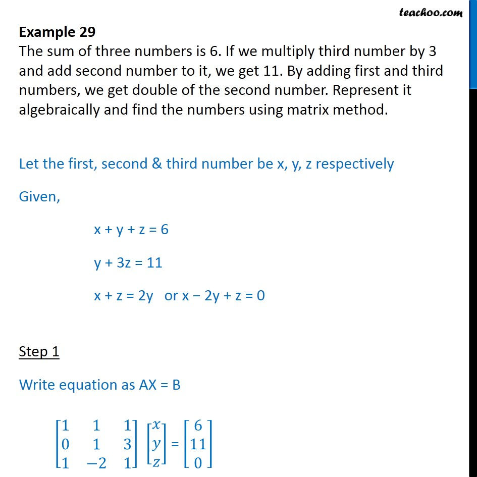 Example 29 - Sum of three numbers is 6. If we multiply third - Examples