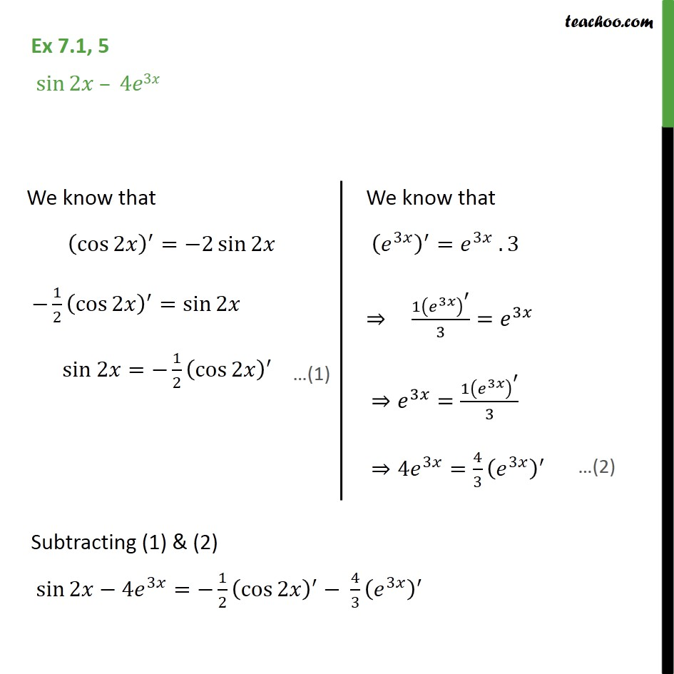 Ex 7.1, 5 - Find anti-derivative sin2x - 4 e3x - Using Trignometric Formulaes