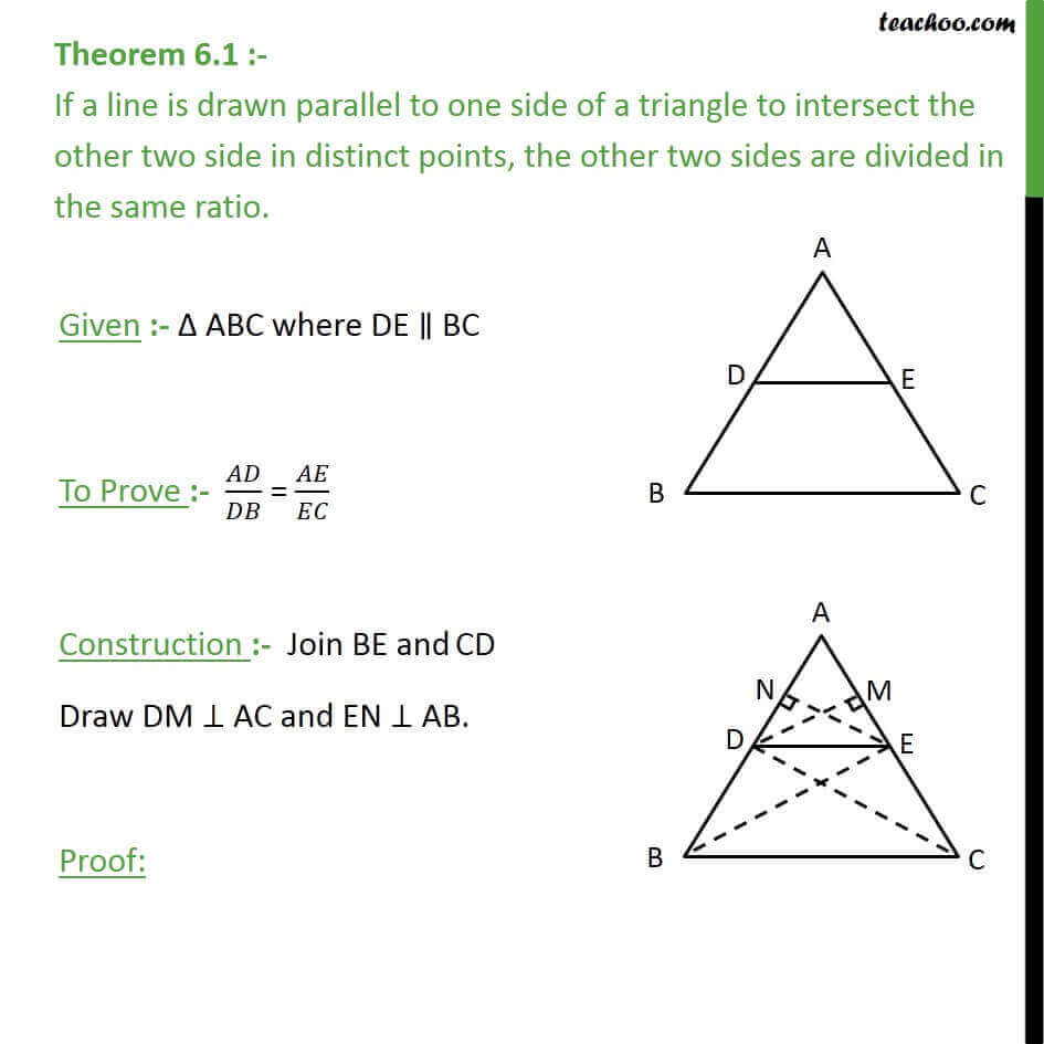 Theorem 6.1 - Basic Proportionality Theorem (BPT) - Chapter 6 Class 10 - Theorem 6.1