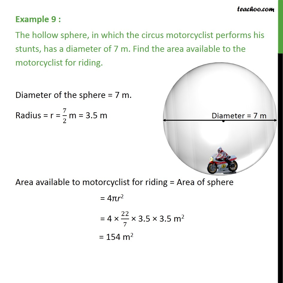 Example 9 - The hollow sphere in which circus motorcyclist - Examples