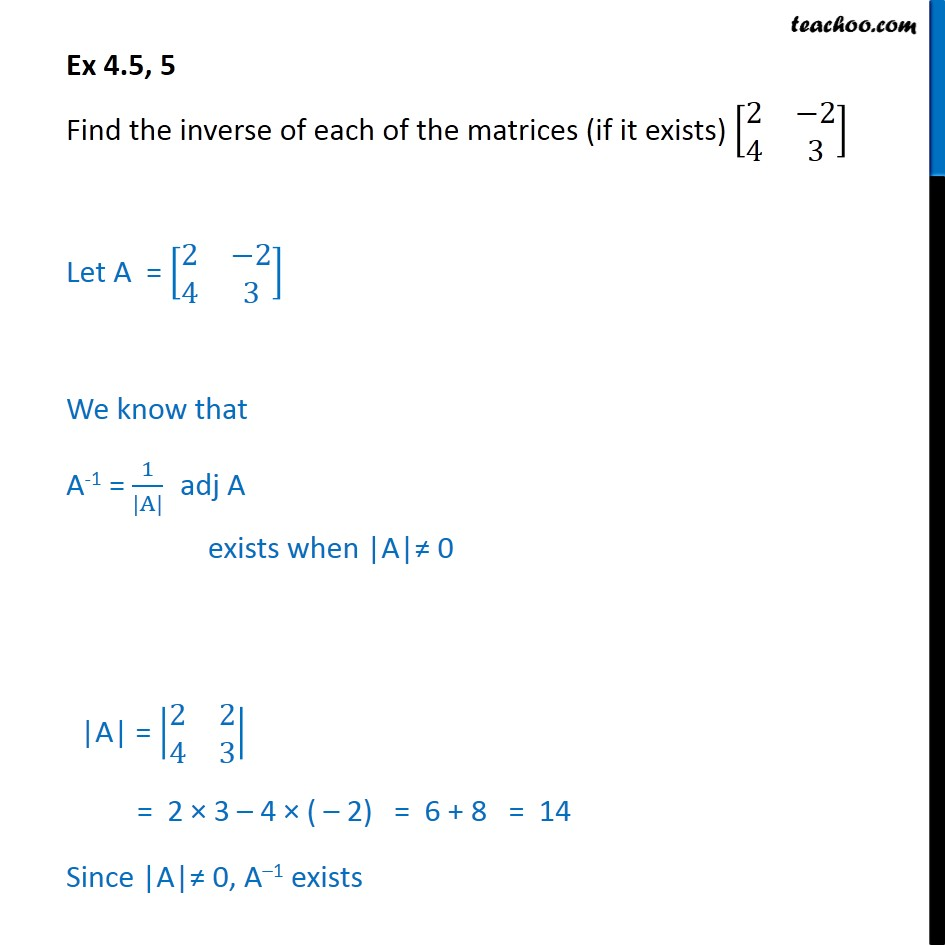 Ex 4.5, 5 - Find inverse of each of matrices - Class 12 NCERT - Ex 4.5