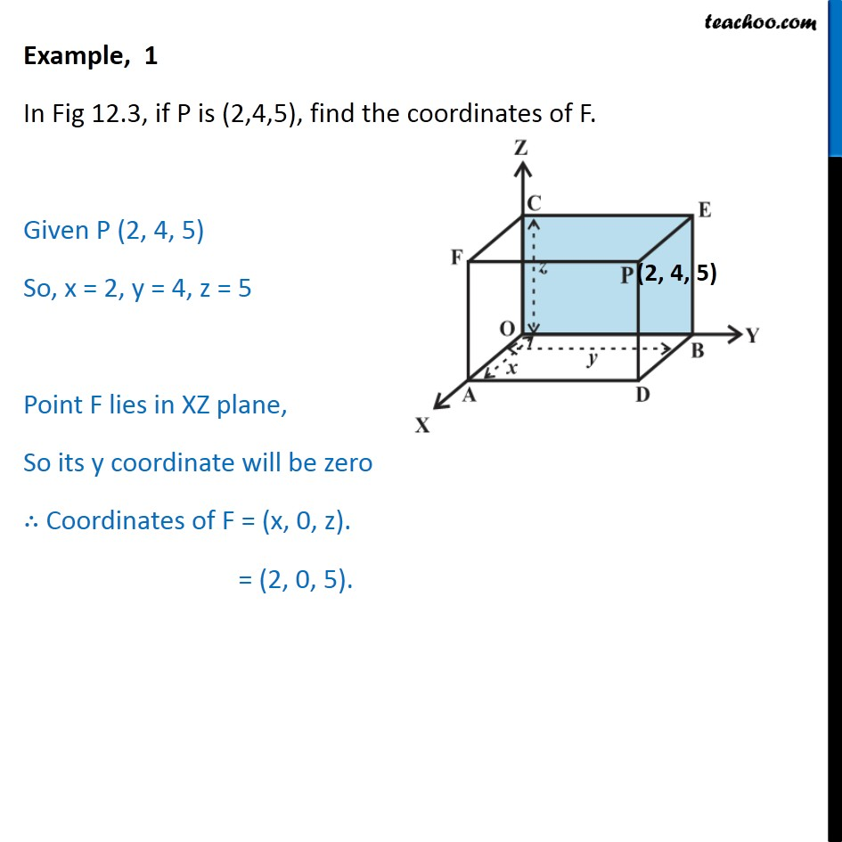 Example 1 - In fig, if P is (2,4,5), find coordinates of F - Examples