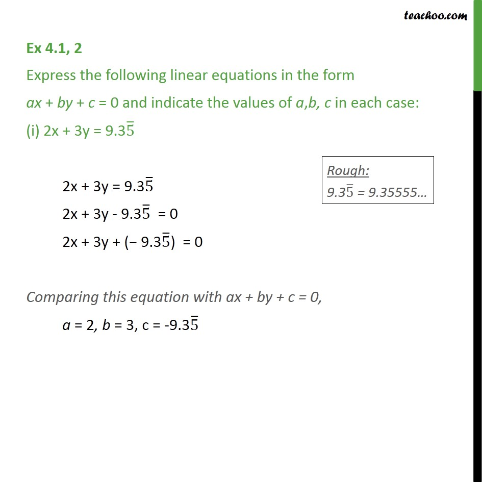 Ex 4.1, 2 - Express following linear equations in the form - Ex 4.1
