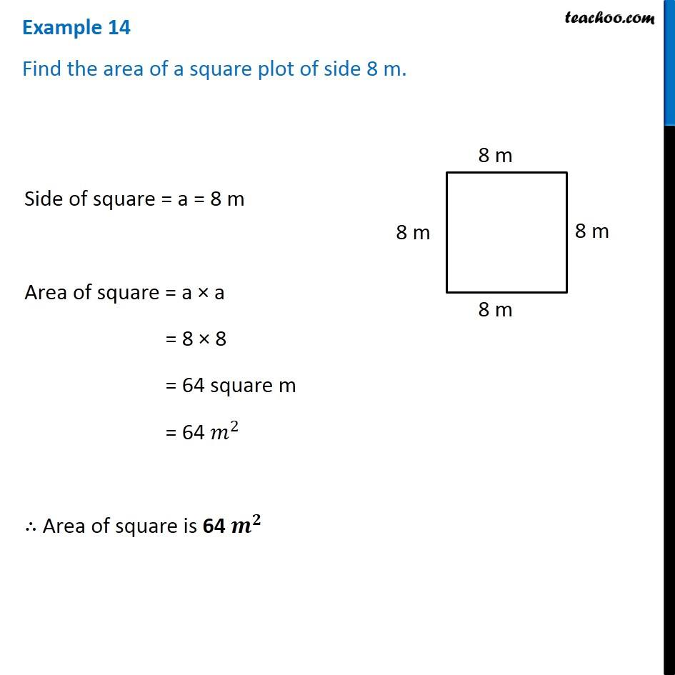 Example 14 - Find the area of a square plot of side 8 m - Chapter 10