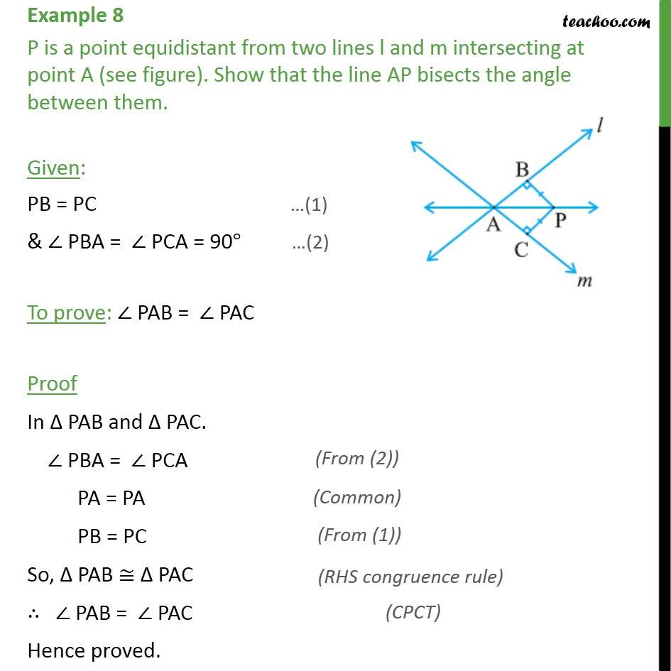 Example 8 - P is a point equidistant from two lines l and m - Examples