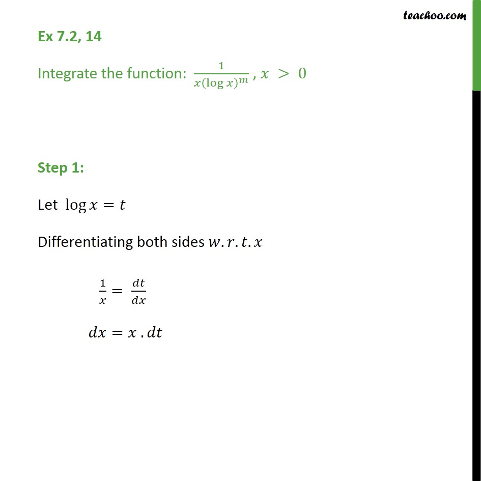 Ex 7.2, 14 - Integrate: 1 / x(log x)m - Chapter 7 CBSE - Integration by substitution - lnx