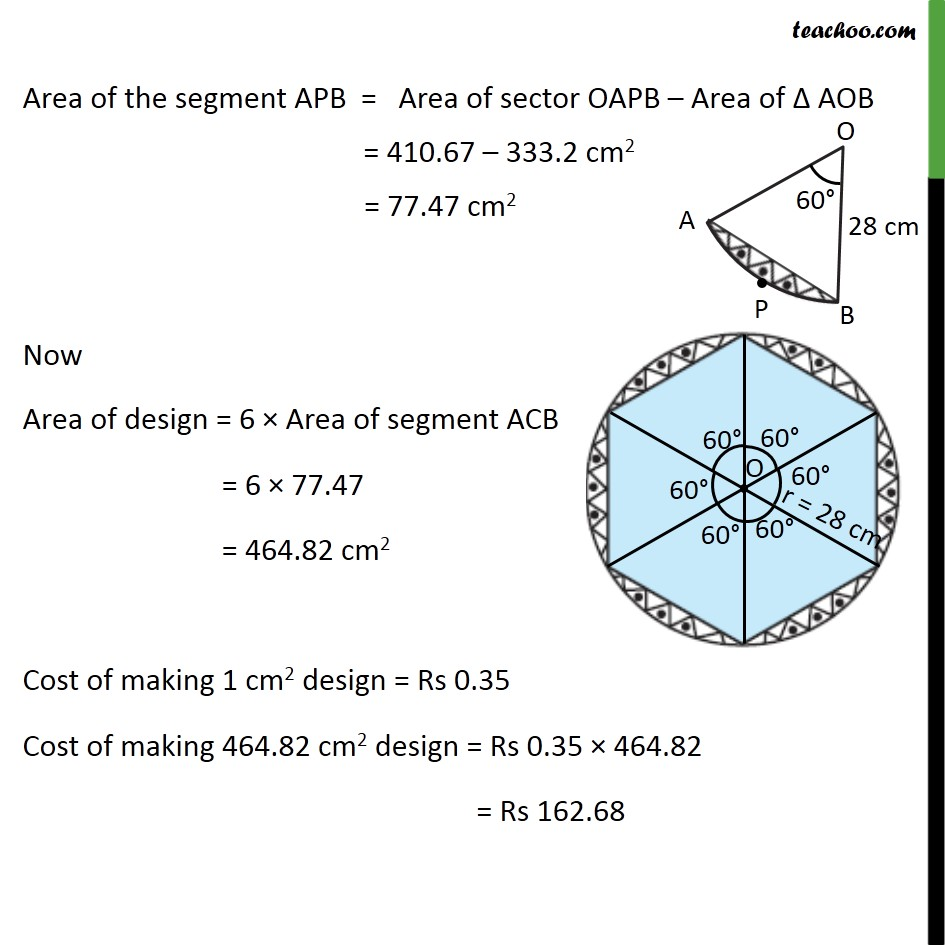 Ex 12.2, 13 - Chapter 12 Class 10 Areas related to Circles - Part 7
