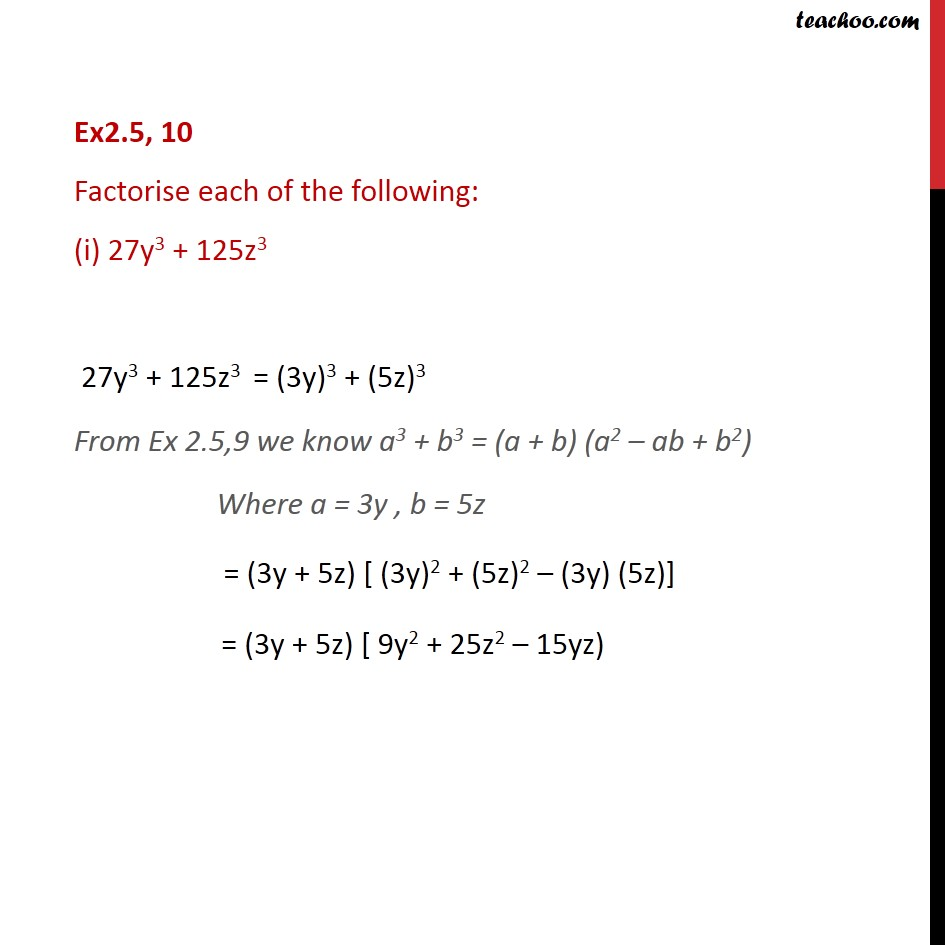 Ex 2.5, 10 - Factorise each of the following:(i) 27y3 + - Ex 2.5
