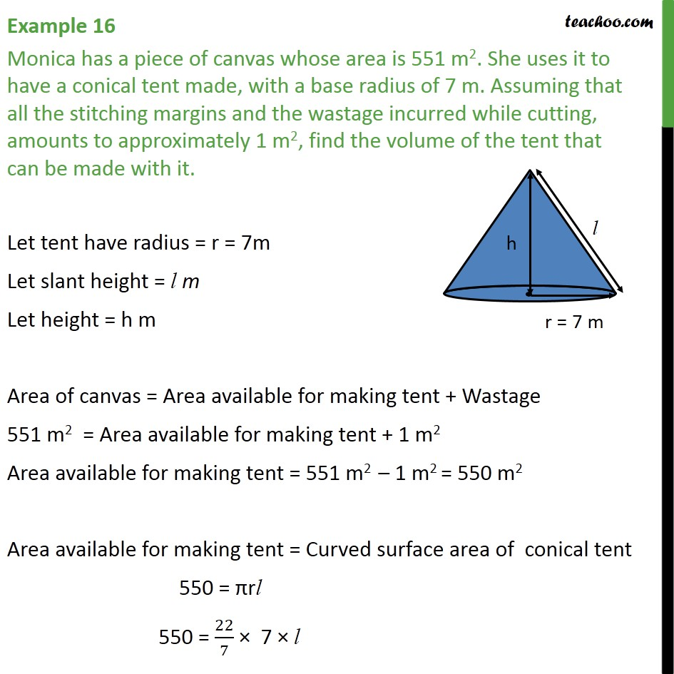 Example 16 - Monica has a piece of canvas whose area is 551 - Examples