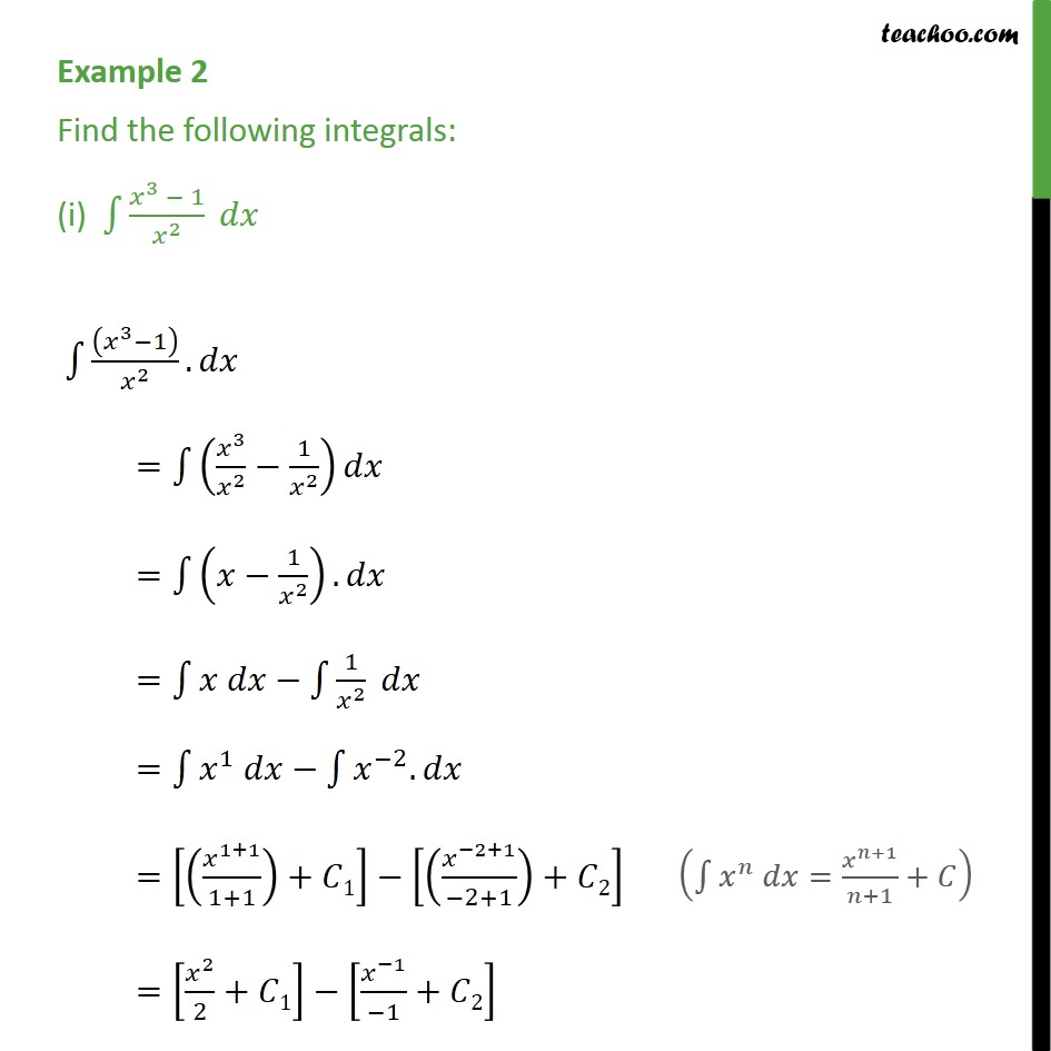 Example 2 - Find integrals (i) x3 - 1 / x2 dx - Examples