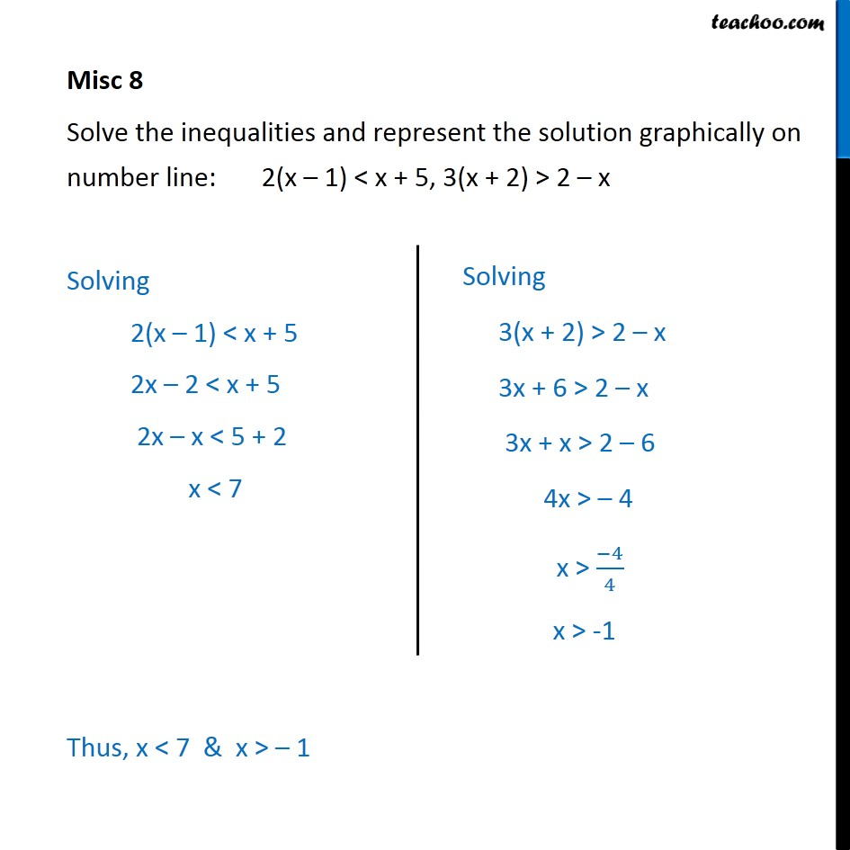 Misc 8 - Sovle 2(x - 1) < x + 5, 3(x + 2) > 2 - x - Chapter 6 - Solving on number line (two graphs)