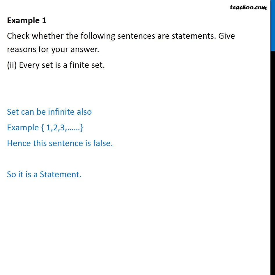 example 1 check whether sentences are statements cbse