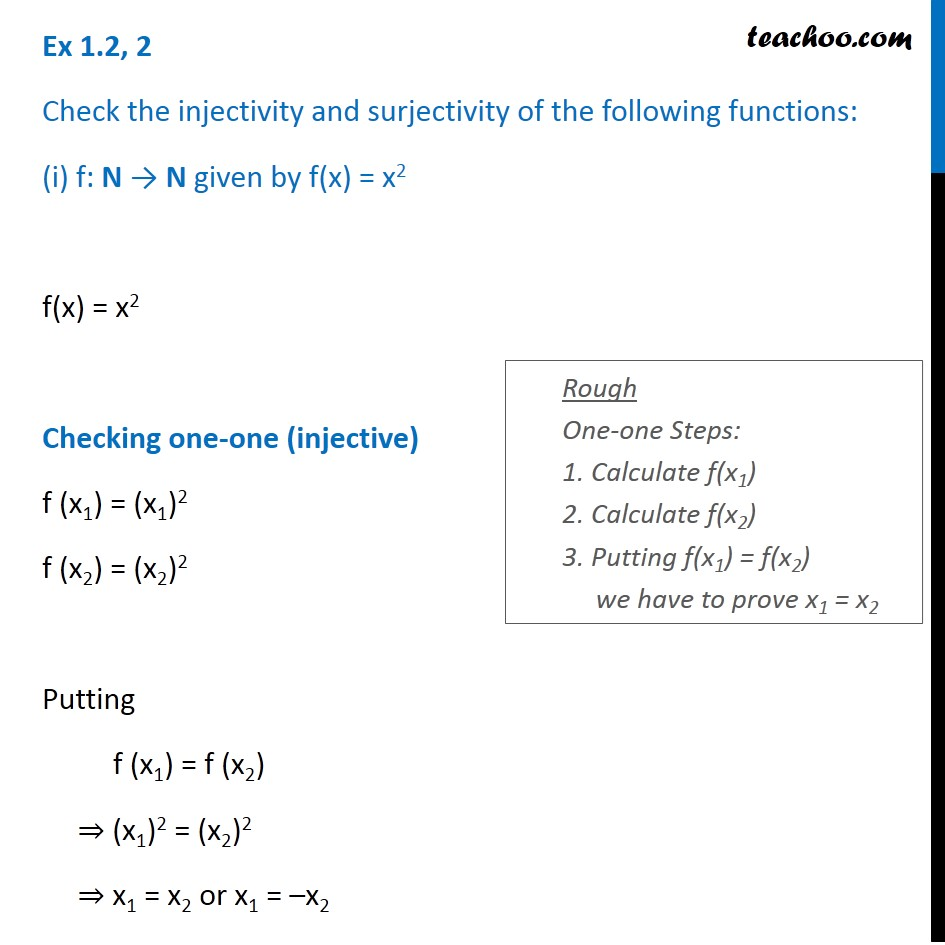 Ex 1.2, 2 - Check injectivity and surjectivity of (i) f(x) = x^2,