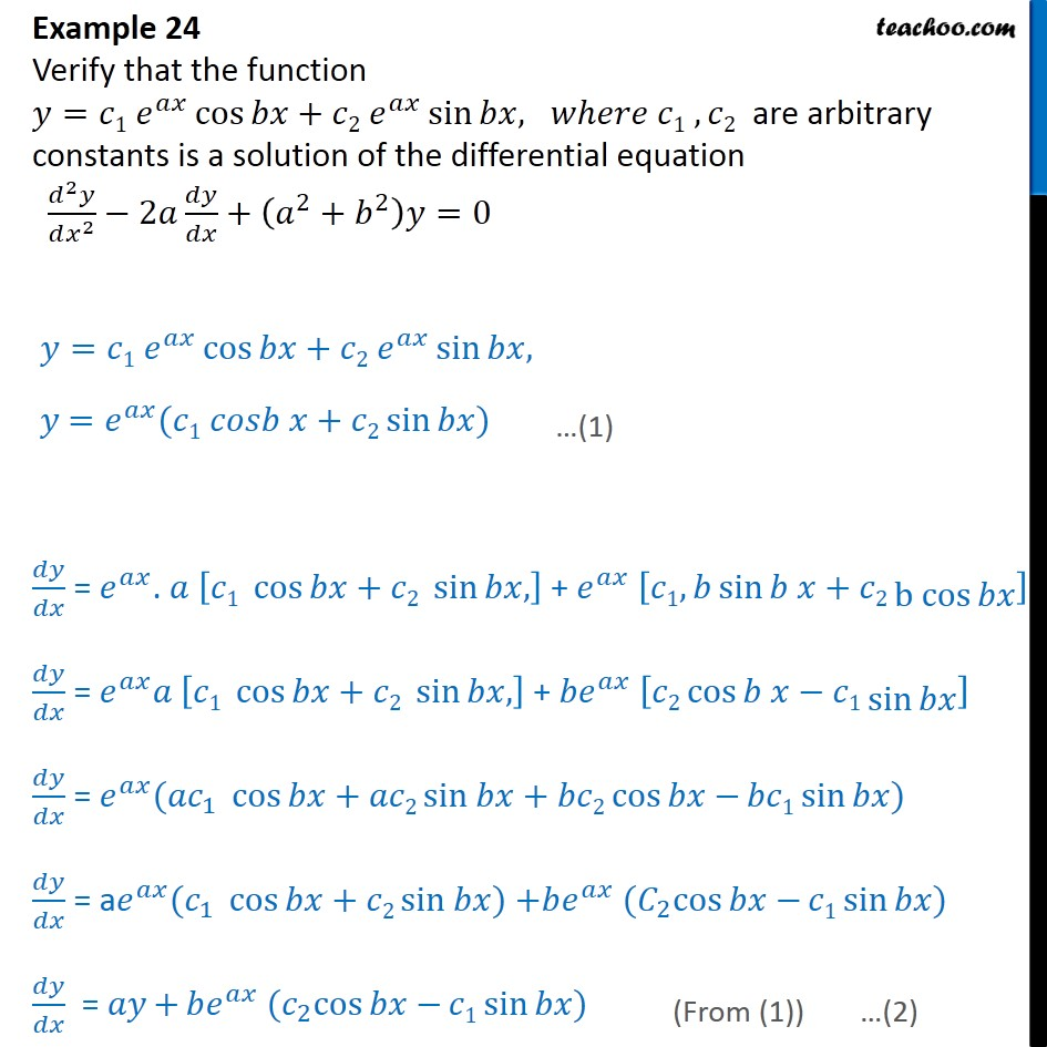 Example 24 - Verify that y=c1 eax cos bx + c2 eax sin bx - Gen and Particular Solution