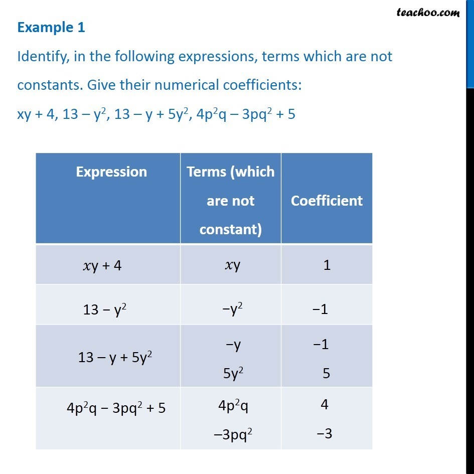 Example 1 Identify Terms Which Are Not Constants Give Their