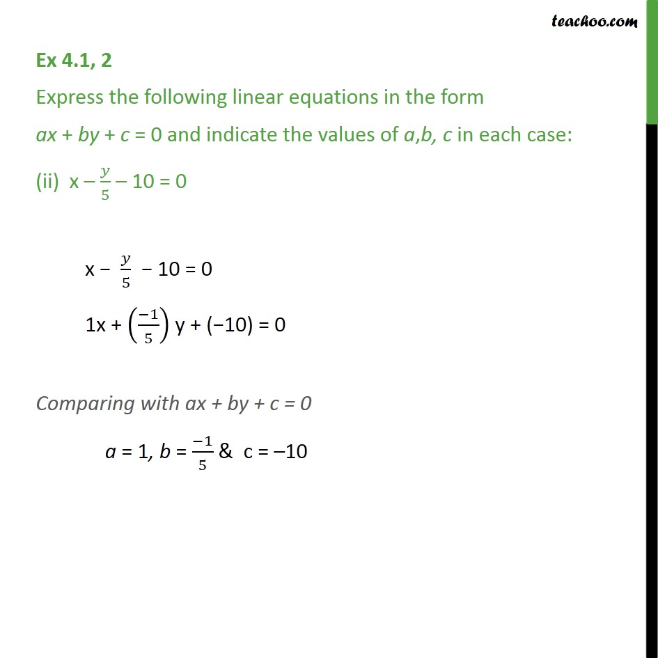 Ex 4.1, 2 - Chapter 4 Class 9 Linear Equations in Two Variables - Part 2