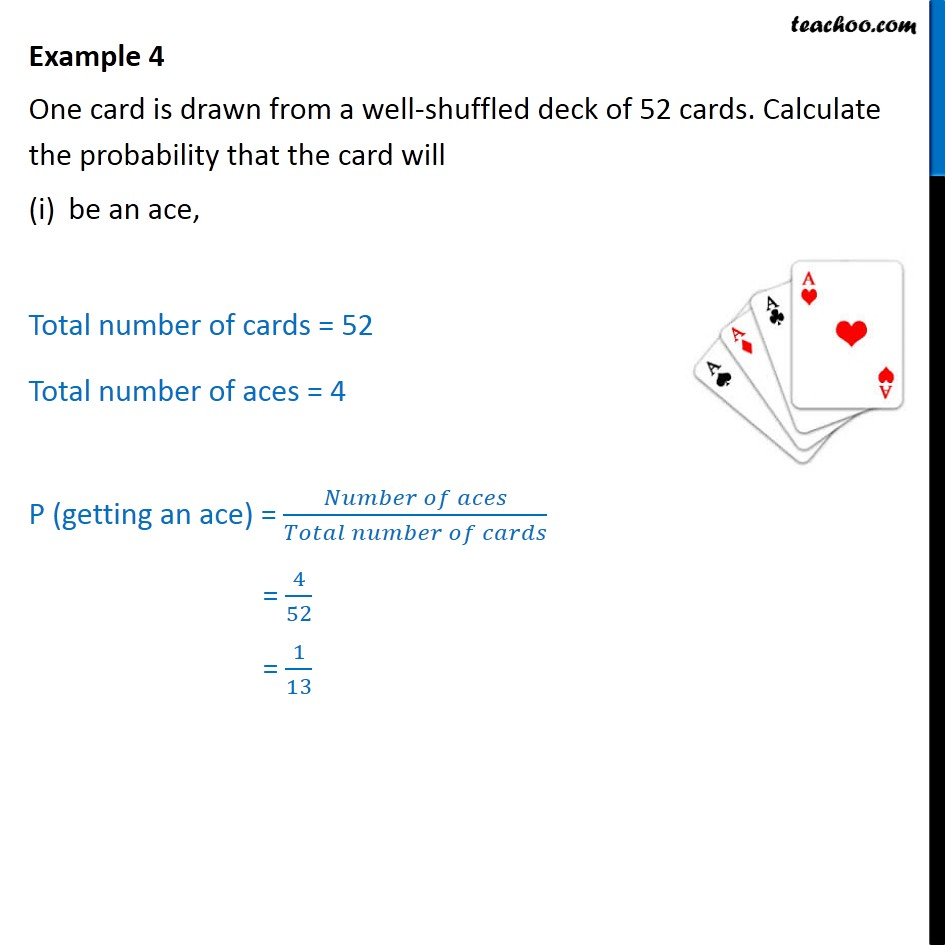 Example 4 - One card is drawn from a well-shuffled deck - Cards