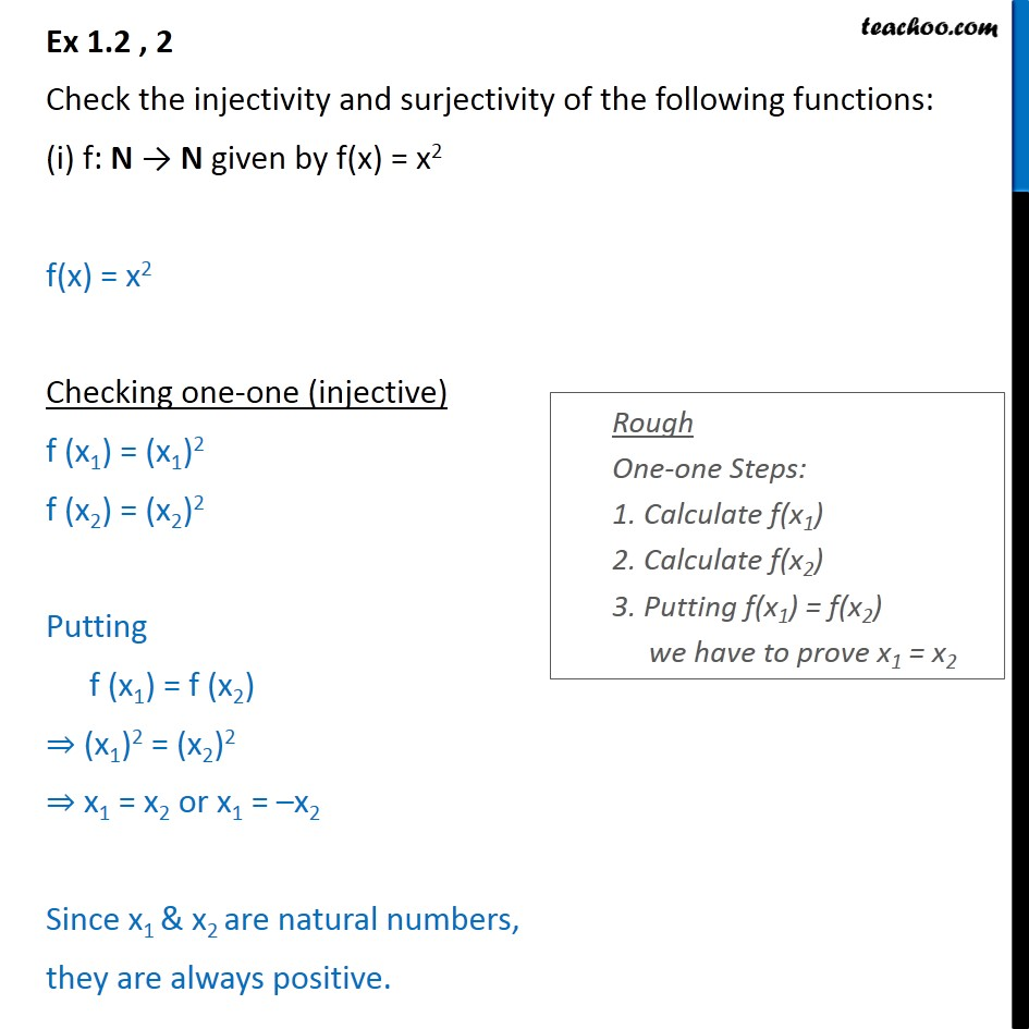 Ex 1.2, 2 - Check injectivity, surjectivity of (i) f(x) = x2 - To prove injective/ surjective/ bijective (one-one & onto)