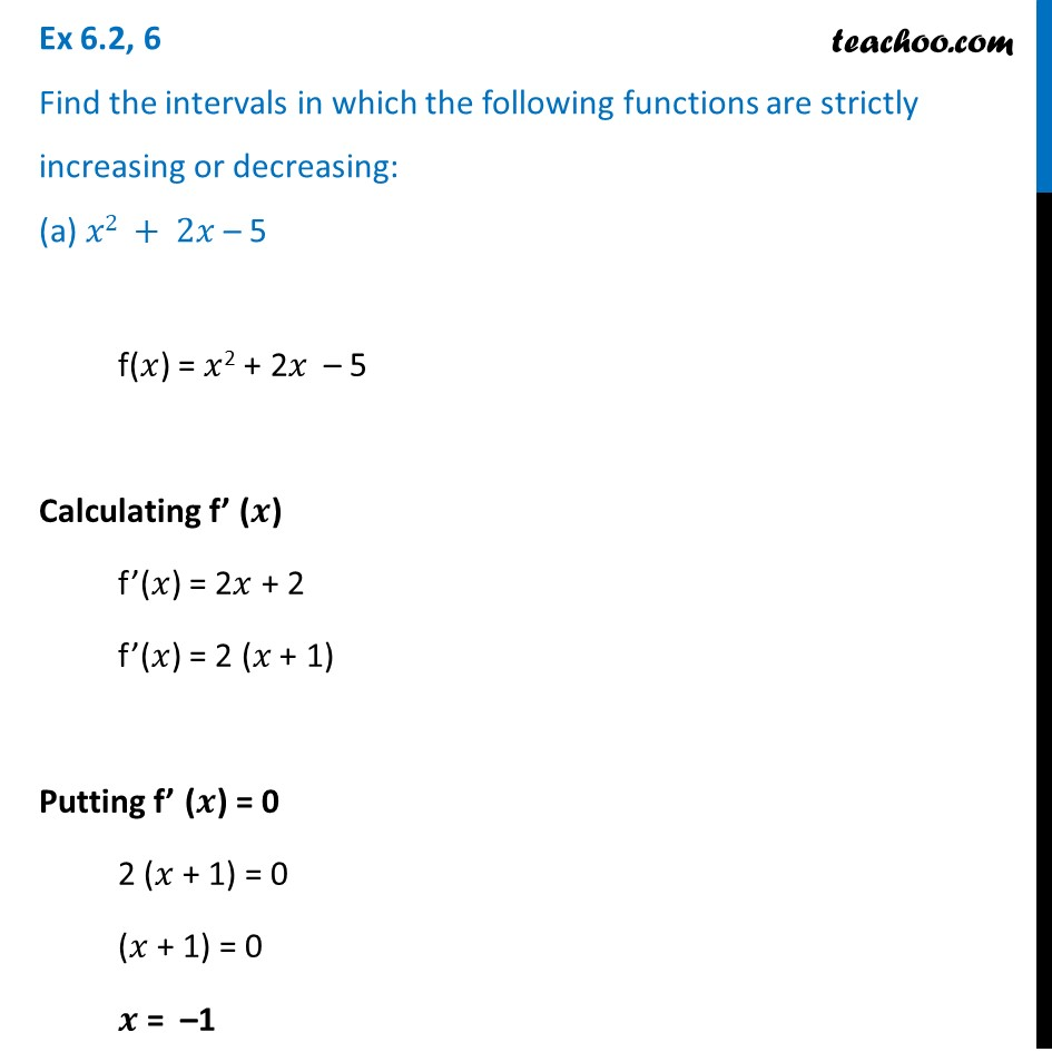 Ex 6.2, 6 - Find intervals in which functions strictly increasing
