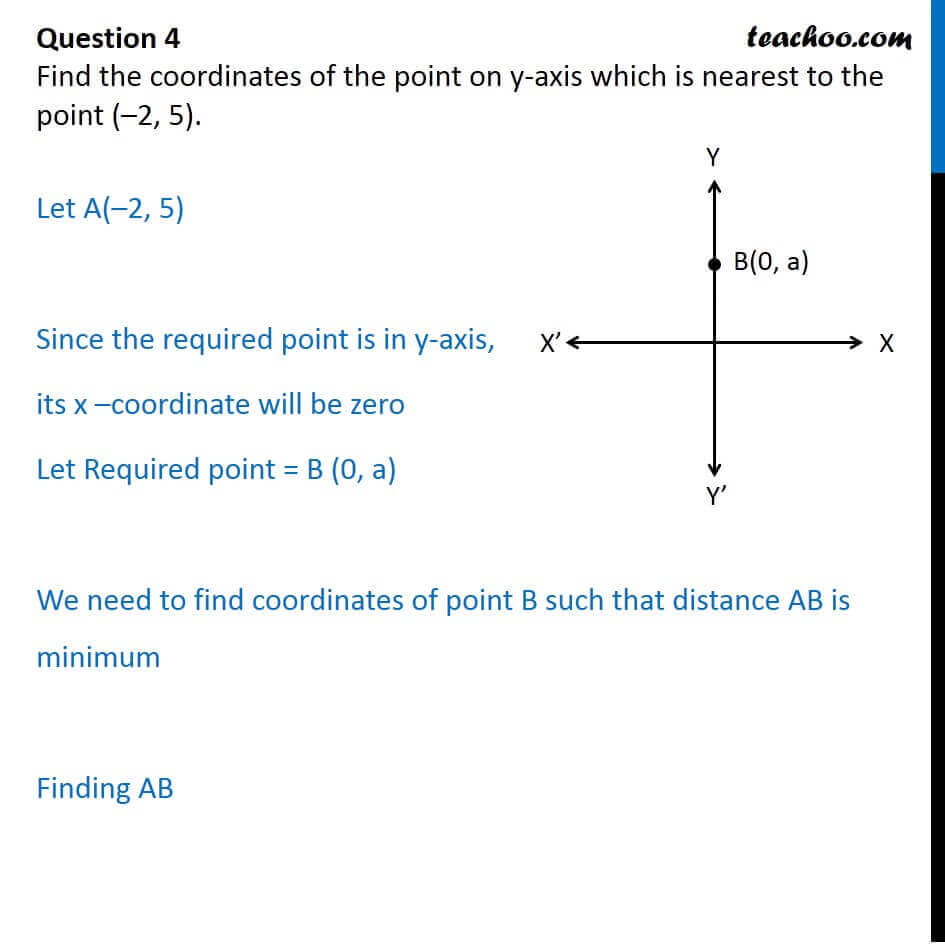 Find coordinates of point on y-axis which is nearest to (-2, 5)